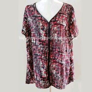 Lane Bryant leather look trim blouse sz 2x 18 20
